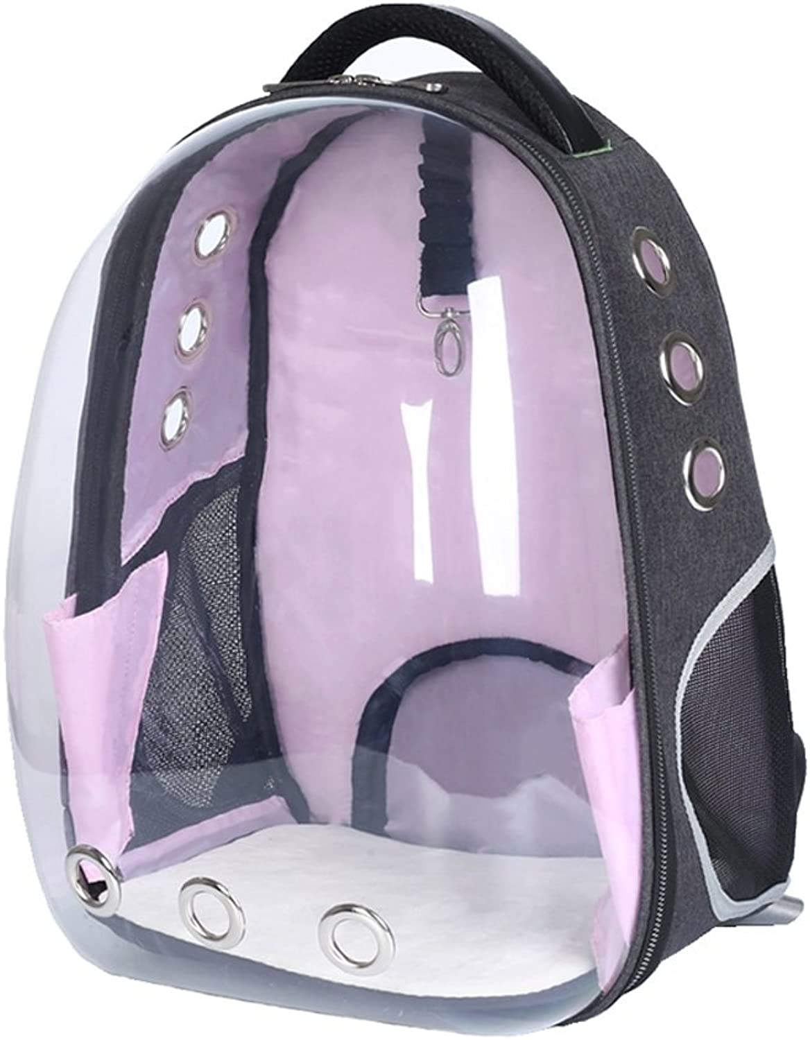 Pink Transparent Space Capsule Breathable Waterproof Pet Backpack Carrier Astronaut Pet Cat Dog Puppy Carrier Bubble Travel Bag Outdoor Portable Premium Backpack 33cmX28cmX44cm