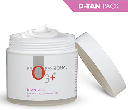 O3+ D-Tan Pack for Instant Skin Brightening and Lightening De Tan Removal Mask Infused with Mint and Eucalyptus Oil - Suitable for All Skin Types (300gm)