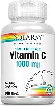 Solaray Vitamin C 1000mg | con Escaramujo y Acerola | Acción Retardada| Sin Gluten | Apto Para Veganos | 100 comprimidos