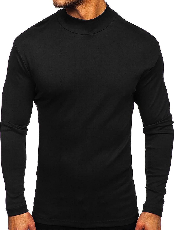 Men Regular Fit Basic Lightweight Long Sleeve Pullover Top Turtleneck T-Shirt for Men Basic Slim Shirts