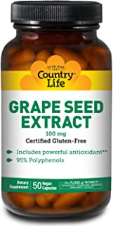 Country Life Grape Seed Extract 100 mg (Veg Caps), 50-Count