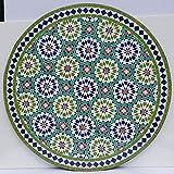 Casa Moro Marokkanischer Mosaiktisch Ankabut Grün Ø 100cm rund mit Gestell H 73 cm Kunsthandwerk aus Marrakesch | Mediterraner Gartentisch Esstisch Balkontisch Bistrotisch MT2221