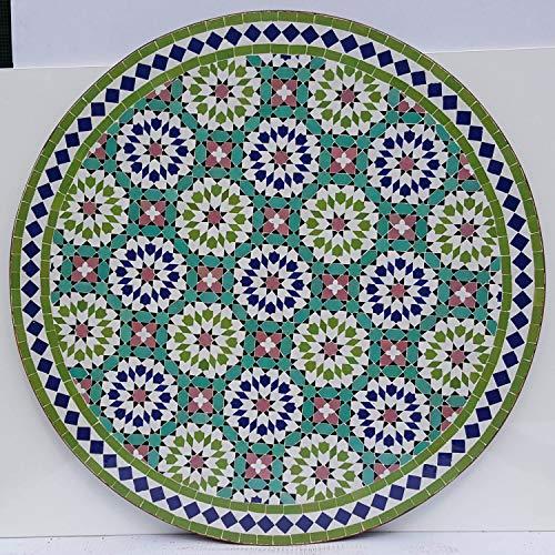 Casa Moro | Mesa de mosaico marroquí, 100 cm de diámetro, redonda, con armazón de 73 cm de altura, hecha a mano de Marrakesch | Mediterránea mesa de jardín, mesa de comedor o balcón | MT2221