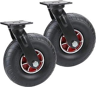 YJJT 2 stks vervanging Caster, Zwarte Heavy Duty Swivel Rubber Caster wielen, Aluminium wiel Core, Dikke massieve wiel, Br...