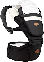 I-angel Nature Baby Carrier Hipseat Front Backpack Organic Cotton Teething Pads 8 Position (Space Black)