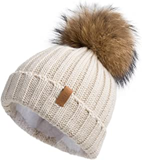 Women Knit Winter Turn up Beanie Hat by Pilipala with Fur Pompom VC17604