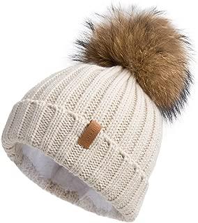 Women Knit Winter Turn up Beanie Hat by Pilipala with Fur Pompom VC17604