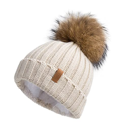 Pilipala Women Knit Winter Turn up Beanie Hat with Fur Pompom VC17604 0530f5a6241