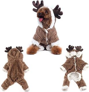 Haustier Rentier-Mantel Weihnachten Elch Kostüm Hund Kleidung Winter Welpen Urlaub Kleidung Outfit Hund Hoodie Mantel Party Dress Up