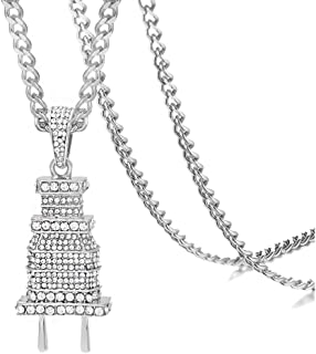 Xusamss Hip Hop Stainless Steel Plug Tag Pendant Crystal Necklace,24inches Chain