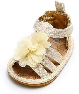 b6796c51a014a LACOFIA Sandales d été pour bébé Filles Chaussures de Fleurs Premier Pas  pour bébé ete