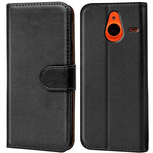 Verco Lumia 640 XL Hülle, Handyhülle für Microsoft Lumia 640 XL Tasche PU Leder Flip Case Brieftasche - Schwarz