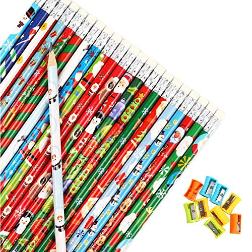 Cocoboo 88pcs Christmas Pencils, 22 different layouts, Prize for Kids, Schools, Classroom Supplies, Christmas Party Favors with 10 Pencil Sharpeners