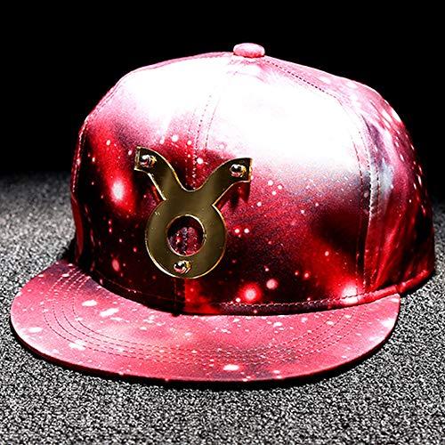JKFXMN 12 Zwölf Sternenklare Rote Reflektierende Weibliche Ebene des Konstellationshutmannes Entlang Hip-Hop-Kappe Stier