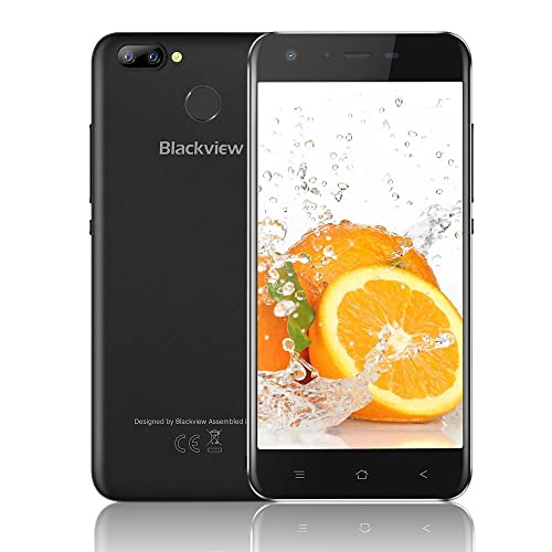 UK SIM-Free Mobile Phone, Blackview A7 Pro with 5.0 Inch HD Display, Cameras 5MP+8MP+0.3MP with Unlocked Smartphone 2GB + 16GB and Rear Touch ID/LED/Bluetooth/Wifi/GPS/ 4G Smartphone - Black