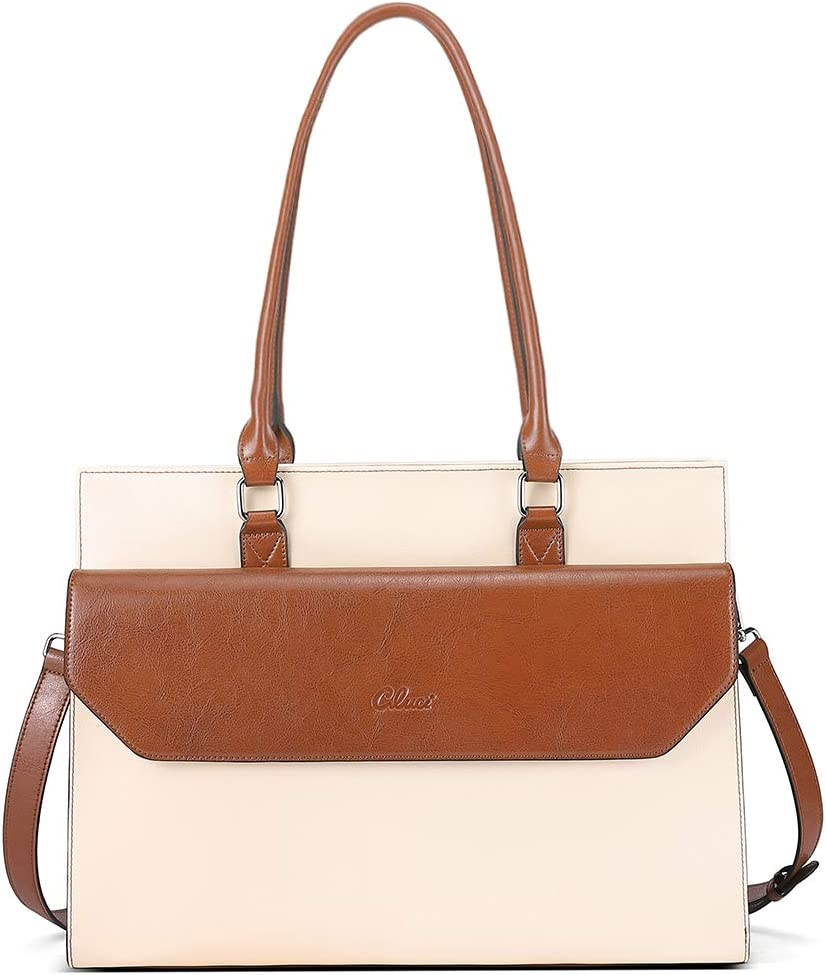 CLUCI Briefcase for Women Oil Wax Leather Vintage 15.6 Inch Laptop Business Shoulder Bag Beige with Brown