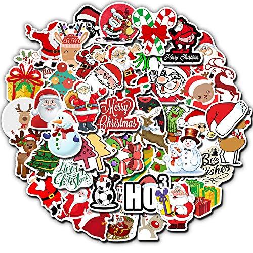 PMSMT Paquete de 50 Pegatinas de Navidad Ciervos Papá Noel muñeco de Nieve niños Regalo Pegatina DIY para monopatín Maleta Pegatinas de Equipaje