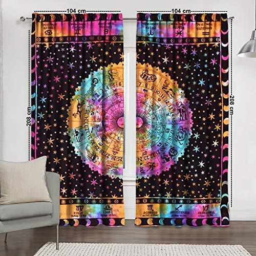 Gardinen mit Tierkreiszeichen, Astrologie Mandala-Druck Fenster, Vorhang und Volant indischer Vorhang für Balkon, Raum-Dekoration, Boho-Set, Hippie-Vorhang (mehrfarbig)