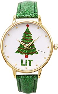Rosemarie Collections Women's Glitter Tree Holiday Christmas Watch