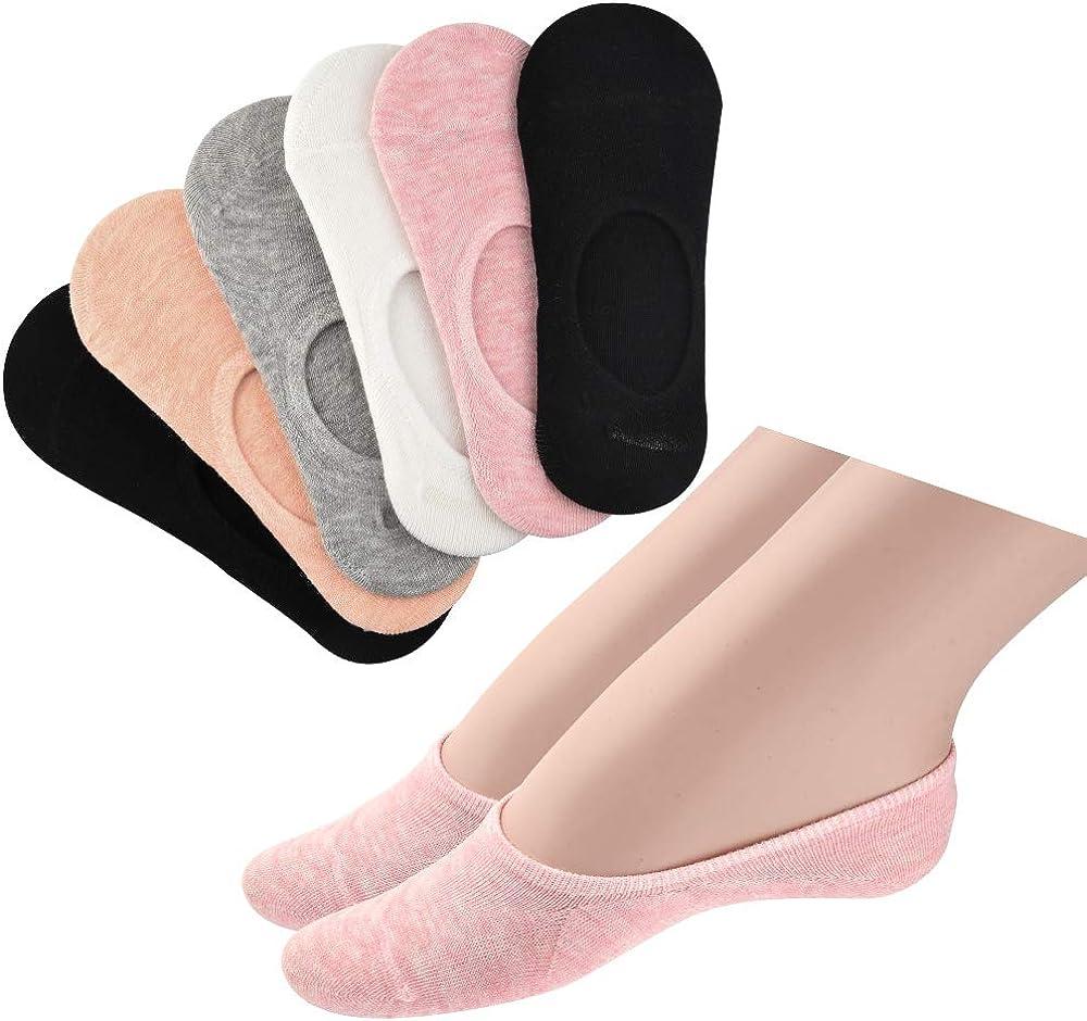 FEPITO Women Cotton No Show Flats Socks Liner Socks for Sneaker Loafer