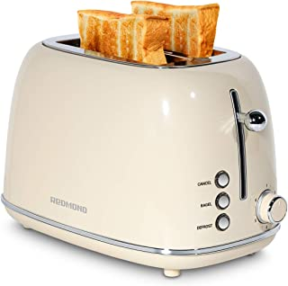 REDMOND 2 Slice Toaster Retro Stainless Steel Toaster with Bagel, Cancel, Defrost Function and 6 Bread Shade Settings Bread Toaster, Extra Wide Slot and Removable Crumb Tray, Cream, ST028