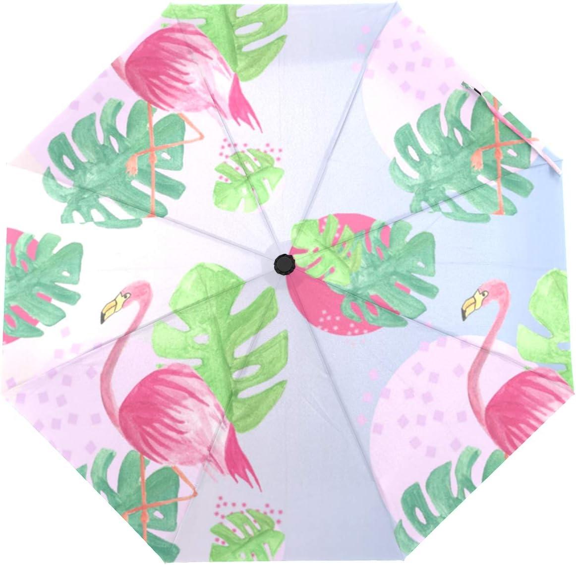 Max 67% Fees free!! OFF OREZI Automatic Open Close Folding Leaves Umbrella And Flamingos