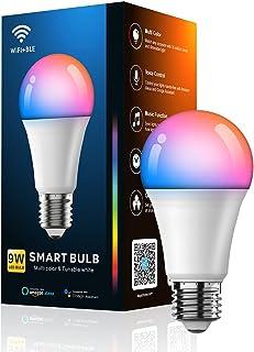 YOMYM 7W Bombilla LED Inteligente WiFi, E27 Bombilla LED Luces Cálidas/Frías & RGB, Lámpara WiFi Funciona con Alexa Google...