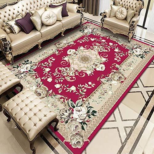WuTongYu Retro Rechteckiger Teppich Zu Hause Wohnzimmer Sofa Decke Druck Schlafzimmer Nachttisch Großflächige Bedeckte Fußmatten Rutschfestes Dickes Material