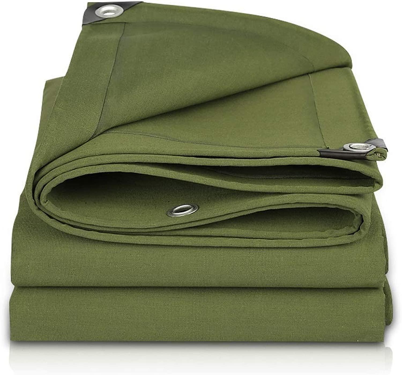 ZX タープ ヘビーデューティターポリンアウトドア100%防水キャンバス屋根ふきキャンプ船カバーUV耐性耐引裂き性丈夫布 テント アウトドア (Color : 緑, Size : 5x10m)