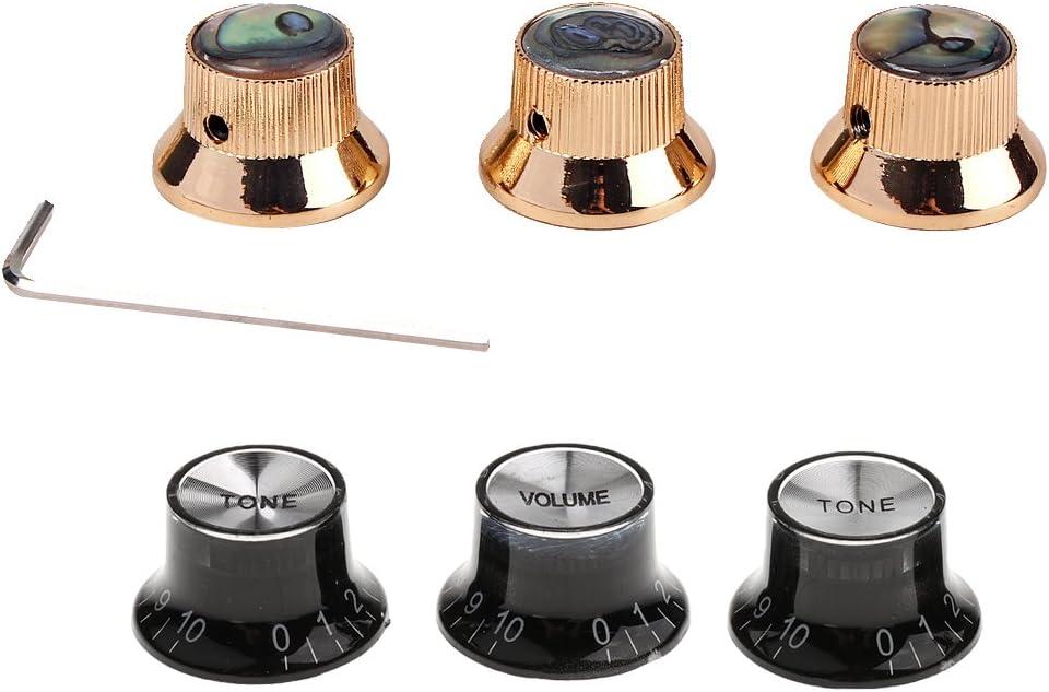 sharprepublic 3 Juegos de Perillas de Control de Tono de Volumen de Pedal de Efectos de Interruptores de Guitarra para Guitarra