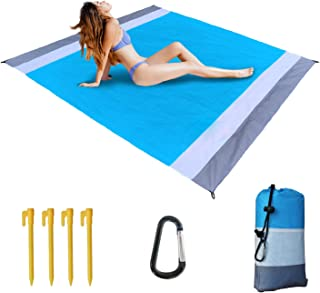 "Siteer Beach Blanket 78.7"" x 82.7"" for 4-7 Adults,Waterproof,Sand Free, Quick Drying, Lightweight and Durable, with Storage Bag, Carabiner, Stakes"