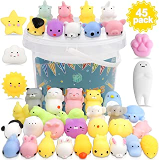 POKONBOY 45 Pack Mochi Squishy Toys Mini Squishies, Squishy Party Favors for Kids Unicorn Cat Squishy Kawaii Animal Squishies Stress Relief Toys Birthday Gifts