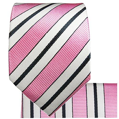 Rose noire rayé ensemble de cravate 3 Pièces ( 100% Soie Cravate + Mouchoir + Boutons de manchette )