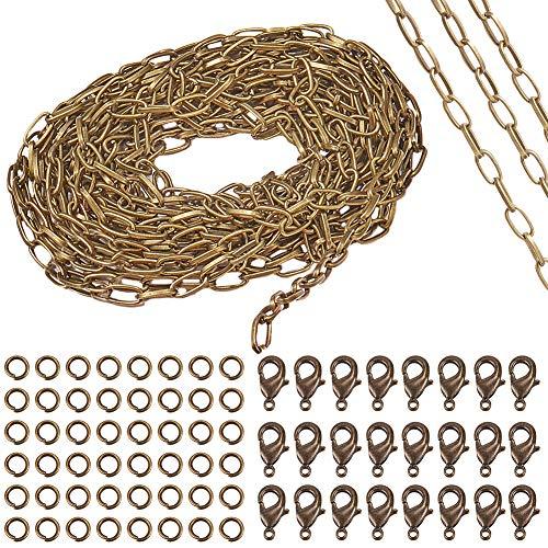 SUNNYCLUE 1 Roll Rectangle Jewellery Making Chain Bulk Cadena de Cable de Bronce Antiguo de 5 mm con 20 Piezas de Cierres de Langosta Y 50 Piezas de Anillos de Salto para Joyería, Sin Níquel