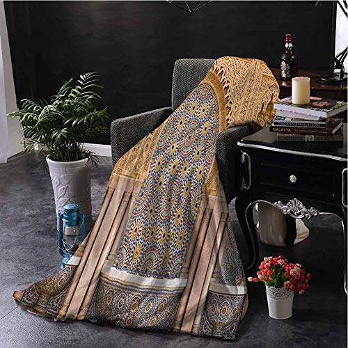 hengshu Moroccan Faux Fur Blanket Warm Cozy Typical Moroccan Tiled Fountain in The City of Rabat Near Hassan Tower Comfortable Soft Warm Large Blanket W60 x L91 Inch Apricot Pale Brown