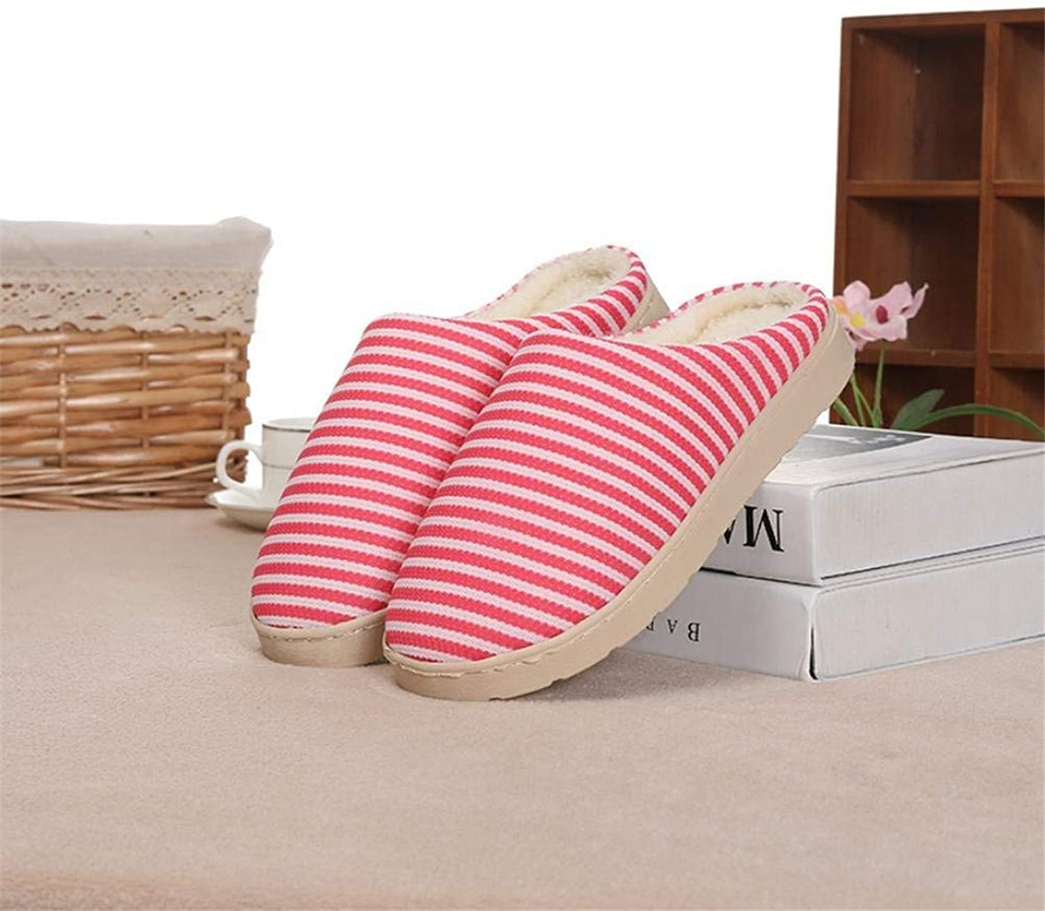 Lady Slippers Women 's Home Cotton Stripe Slippers Indoor Red Keep Warm Casual Slippers Mixed color Personality Quality for Women