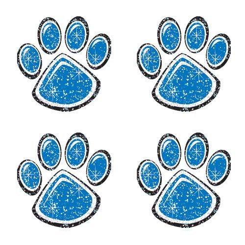 Blue Glitter Paw Print Temporary Tattoo