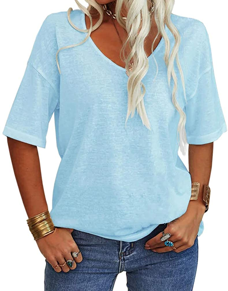 Danedvi gift Women Fashion V-Neck Half Sleeves Solid Shirt T San Diego Mall L Casual