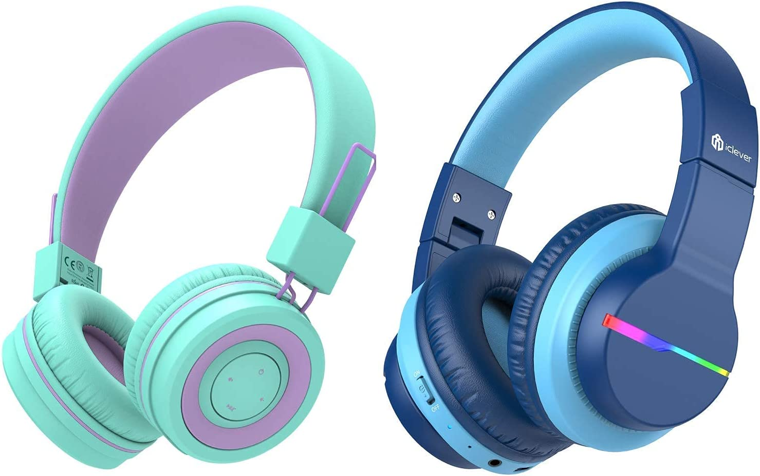 iClever BTH02 Kids Wireless Headphones and BTH12 Kid Bluetooth Headphones Bundle, Kids Headphones with Microphone for School, Green&Blue