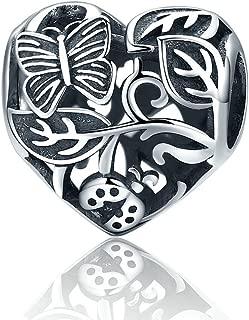 The Kiss Butterfly Flower Love Heart 925 Sterling Silver Bead Fits European Charm Bracelet (Garden)