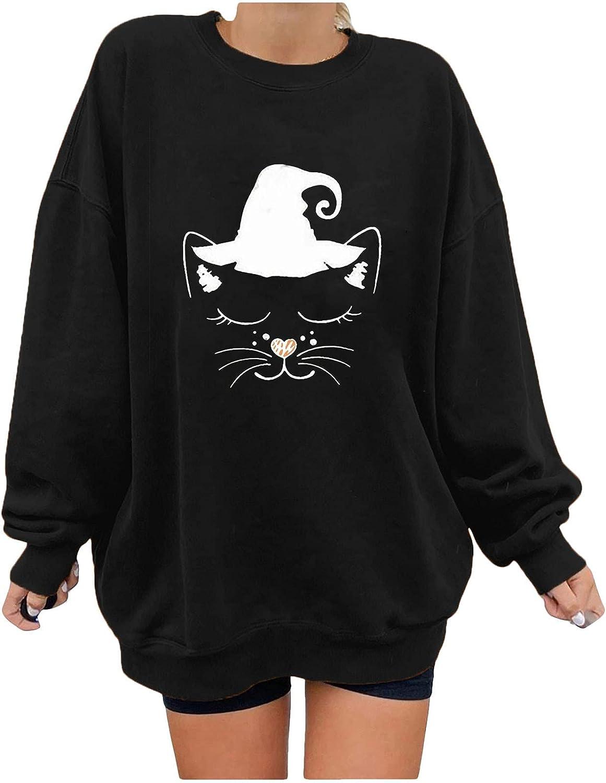 Women's Tunic Tops Fashion Halloween Printed T-Shirt Pullover Ladies Casual Long Sleeve Sweatshirt Blouse Tops