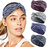 Workout Headbands for Women Men, TAIHA 4Pcs Sports Athletic Yoga Heandbands, Wide Wrap Sweatband Absorbing Moisture for Running Fitness Basketball Dancing