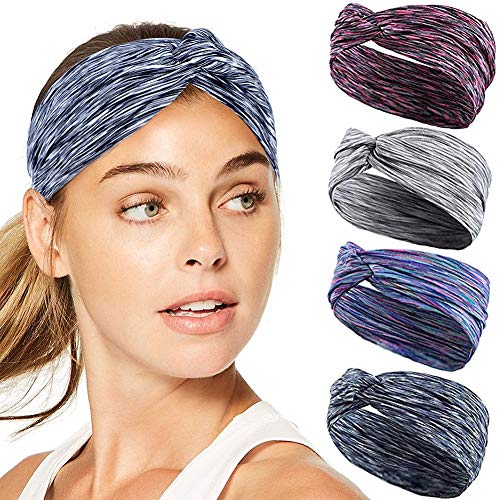 Bascolor Diademas Mujer Elástica Turbantes Flor impresión Diademas Deporte Nudo Banda para Cabello Yoga cabeza Wraps (4pcs deporte diademas)