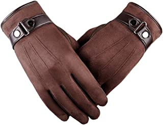 Winter Motorcycle Bicycle Bike Driving Gloves Warm Anti-Slip Feel Screen Fashion Men's Leather Gloves Bicycle Bike Full Finger Gloves (Color : Brown)