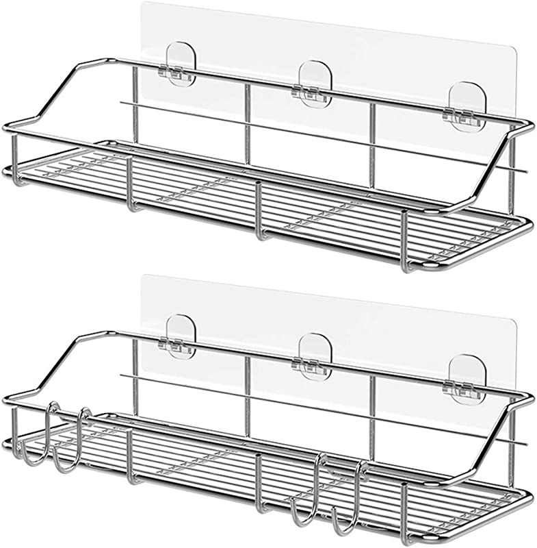 KESOL Adhesive Shower Caddy Shower Shelf Basket With Hooks 304 Stainless Steel 2 Pack