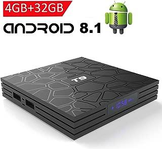 Android TV Box 8.1, EASYTONE T9 Android TV Box 4GB RAM 32GB ROM Quad Core/ 2.4G WiFi/ 64 Bits/ BT4.1/ H.265/ 3D UHD 4K Smart Internet TV Box