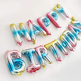 Happy Birthday Balloons Banner Gradient Color Happy Birthday Balloons Gradient 16 Inches Hanging Foil Letters Balloons Colorful Birthday Party Decorations Backdrop Supplies