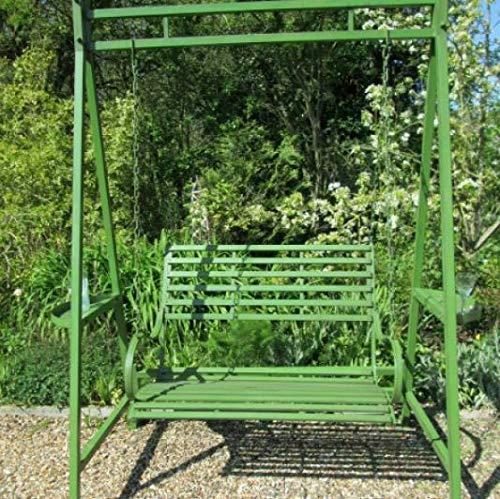 Jonart Design, Wimbledon Aged Green Wood Garden Two Seater Swing Bench Furniture