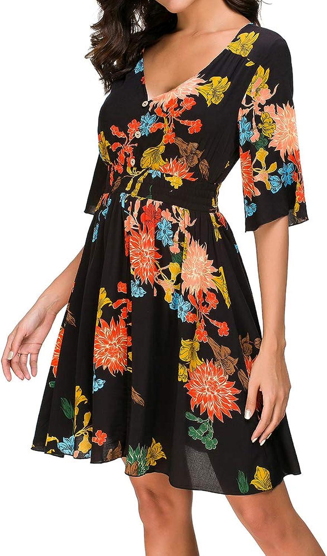 Fantasy Closet Women's V Neck Button up Boho Floral Print Split Flowy Party Dress