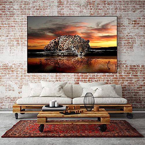Leinwand Malerei Tier Wandkunst Geparden Landschaft Poster und Wohnzimmer Home Decoration Wandmalerei,Rahmenlose Malerei,60x83cm